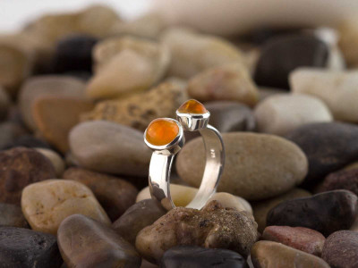 Double Mandarin Garnet Ring | open Sterling Silver ring (sold out)