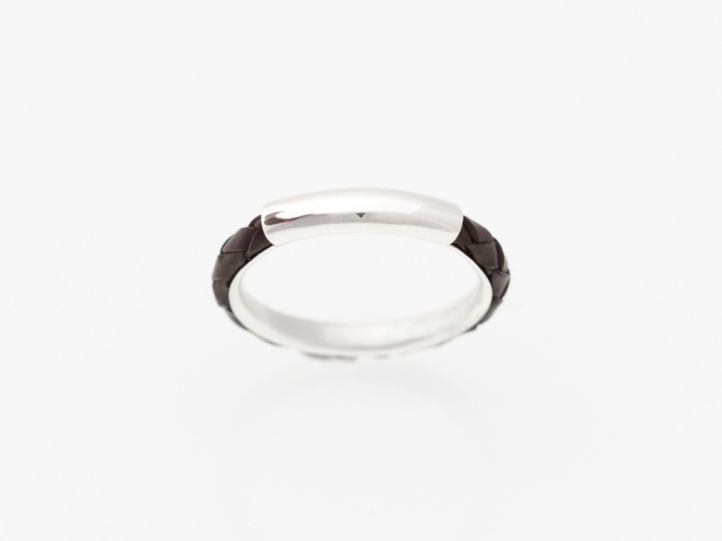 Twisted brown Leather and Silver Ring