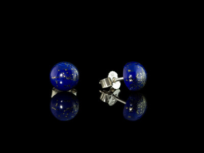 Lapis Lazuli Smooth Cabochons | ear studs in Sterling Silver (sold out)
