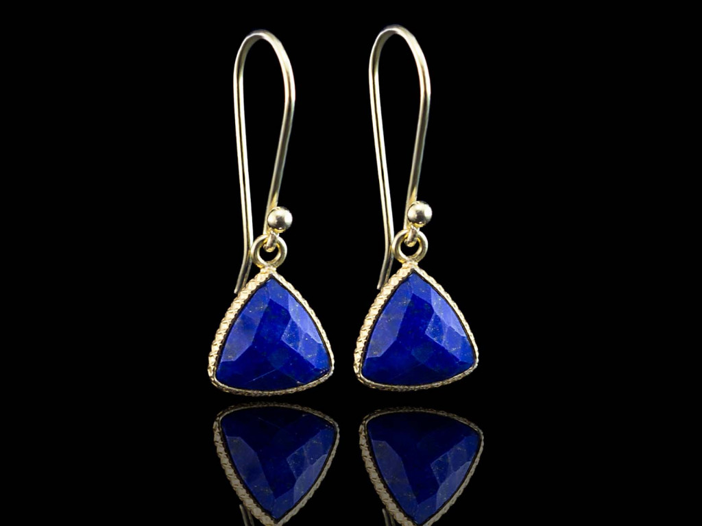 Lapis Lazuli Trillion Gold earrings (Sold out)