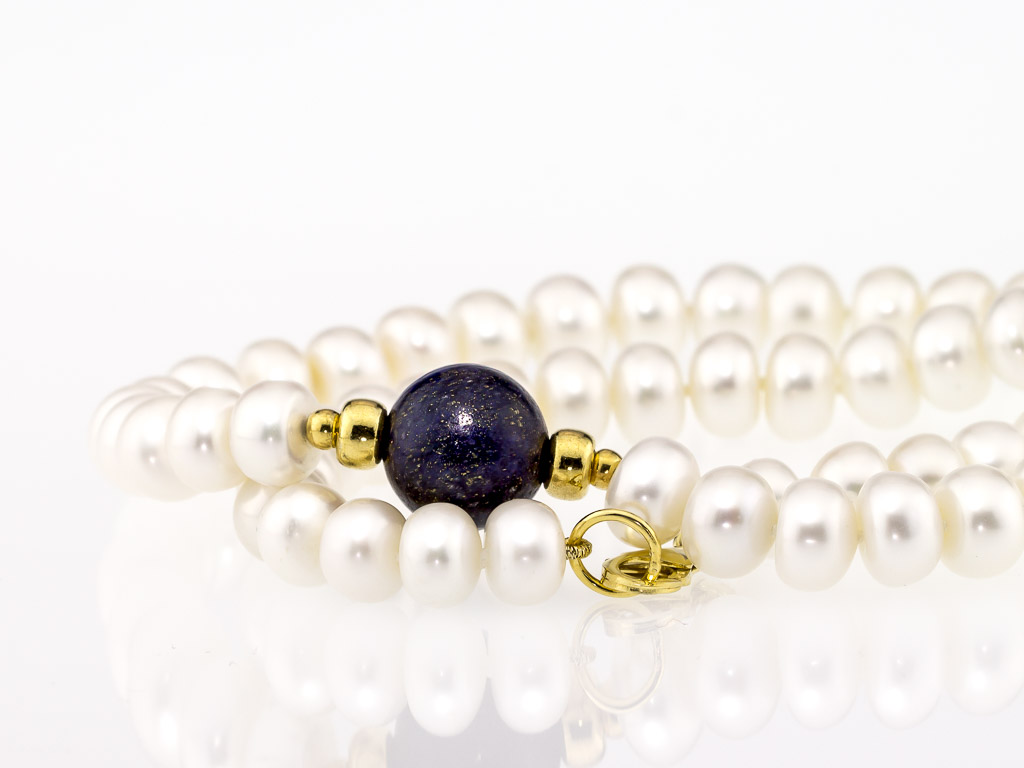 PEARL COLLIER WITH LAPIS LAZULI | Gold vermeil necklace (Sold out)