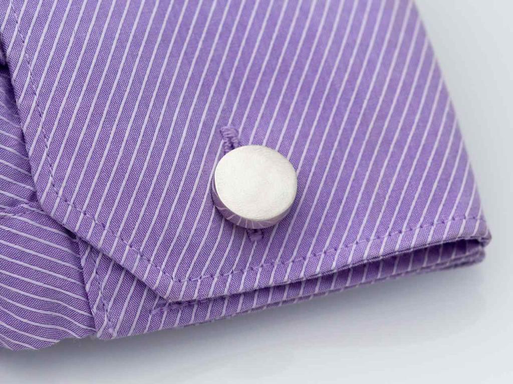Matt Silver Round Cufflinks | Sterling Silver Matt Round Plate with easy fold mechanism (sold)