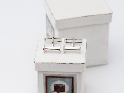 Super Polished Doric Columns | Cufflinks Sterling Silver Super Polished Columns with easy fold mechanism (sold out)