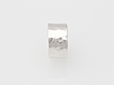 Wide soft polished hammered Sterling Silver band