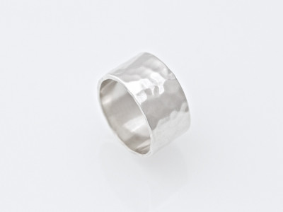 Wide soft polished hammered Sterling Silver band