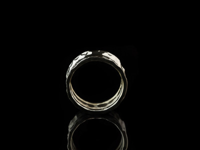 CONCAVE | Wrought Sterling Silver ring for men