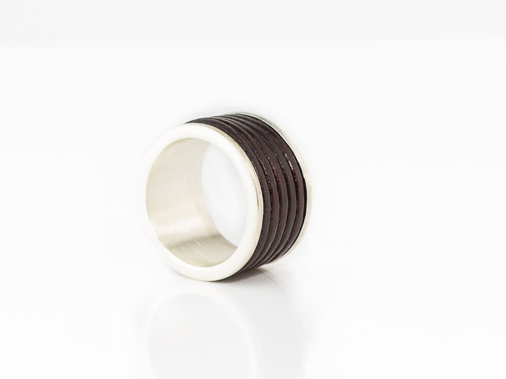 LEATHER & SILVER | Sterling Silver ring for men (Sold Out)