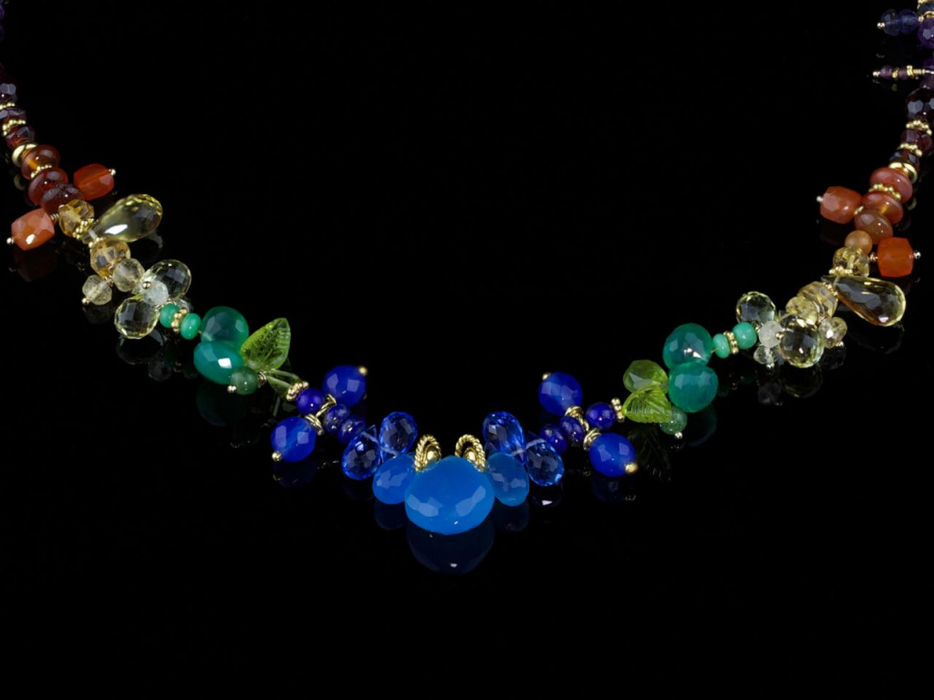 Algorithm of colours | Colourful Precious gemstones necklace with 24ct vermeil gold works (made to order)