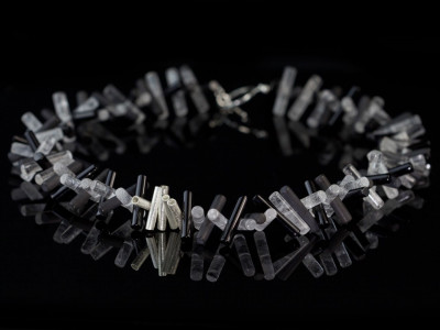 Black & White Cylinders | Necklace with Onyx, clear Crystal Quartz and Sterling Silver rods (Sold out)