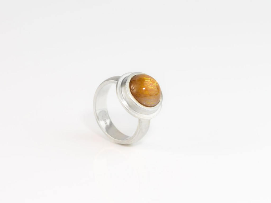 Oregon Sunstone Ring | Brushed Sterling Silver Ring with polished round shimmering Cabochon (sold)