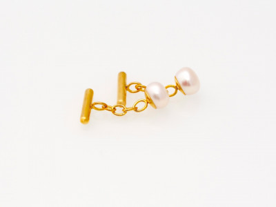 Golden chain Cufflinks with AAA white Pearl (sold out)