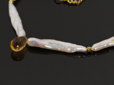 Pearl Citrine Gold necklace (sold out)