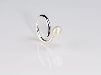 Pearl On One End Sterling Silver Ring (Sold Out)