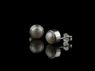 ENCASED PEARLS | Sterling Silver ear studs (sold)