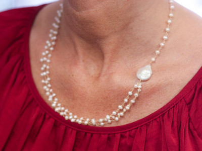 PEARL DREAM | Triple necklace with Gold links (made to order)