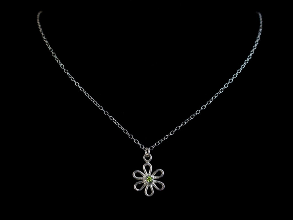 Green Flower Necklace | A Peridot in the middle of a Sterling Silver blossom (sold out)