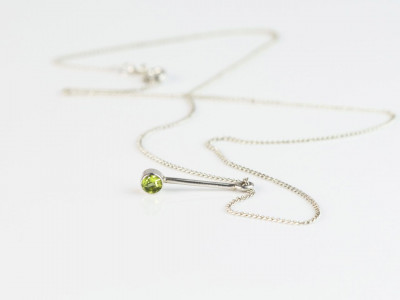 Silver Necklace with Peridot on long Exclamation mark pendant (sold out)