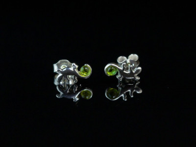 Lizard holding green sphere | Peridot ear studs wax carved Sterling Silver (Sold out)