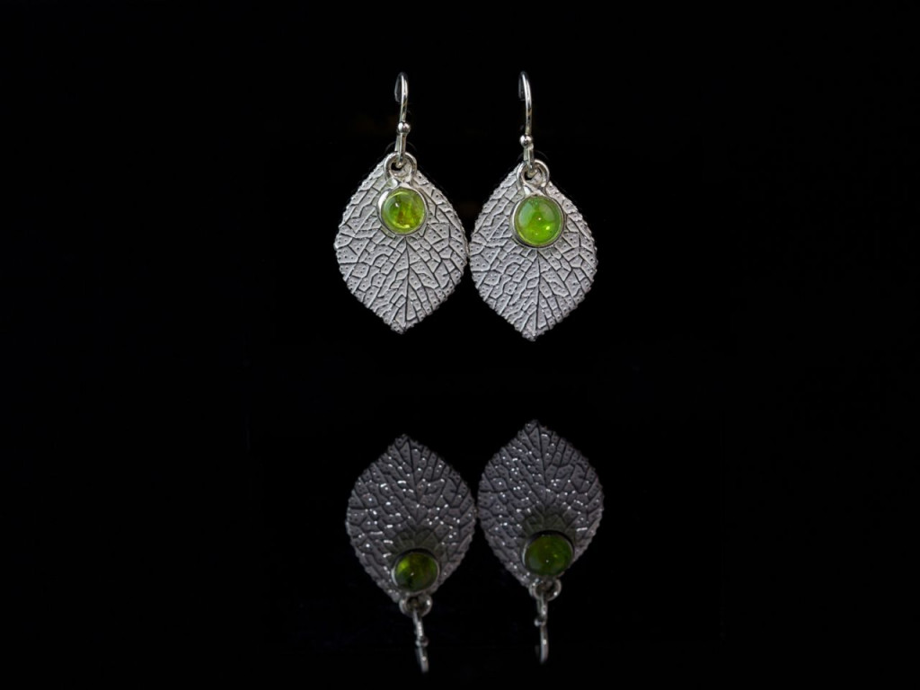 Peridot Leaf earrings | Sterling Silver with polished round Cabochon (Sold out)