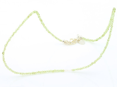 Peridot necklace with tiny freshwater pearls (sold out)