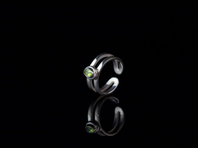 2 Band Peridot Sterling Silver Ring | for petite fingers or as a toe ring (sold out)
