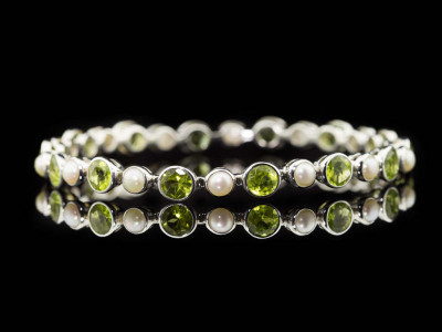 PERIDOTS AND PEARLS | White Gold plated Sterling Silver Bangle (sold)