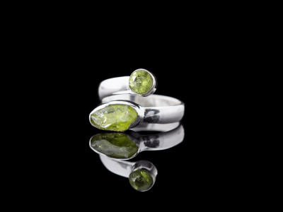 DOUBLE PERIDOT | Sterling Silver ring with open architecture (sold)