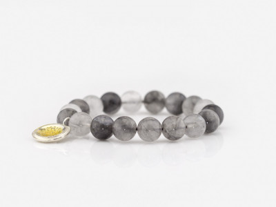 CLOUD SPHERES | Cloudy Quartz bracelet with Silver charm (made to order)