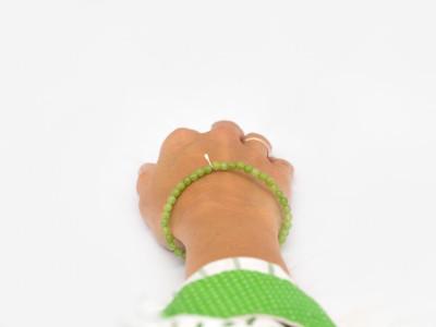 GREEN QUARTZ SPHERES | Bracelet with Sterling Silver leaf charm