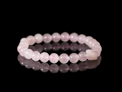 ROSE QUARTZ SPHERES | Bracelet with heart-shaped Crystal (Sold out)