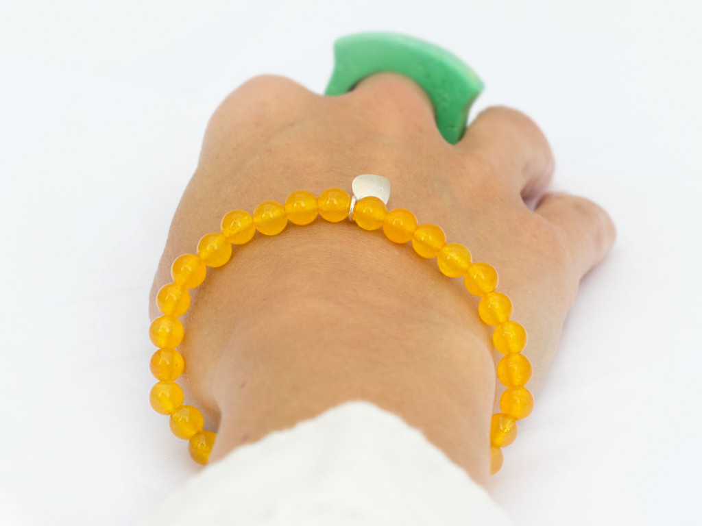 YELLOW QUARTZ SPHERES | Bracelet with Sterling Silver leaf charm (sold out)