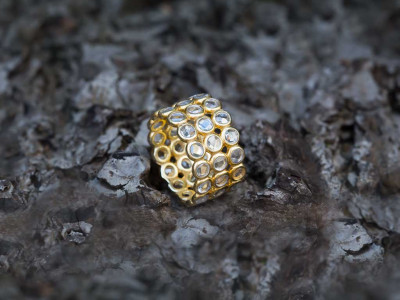 FORTY FIVE | Gold vermeil Ring with 45 Quartz crystals