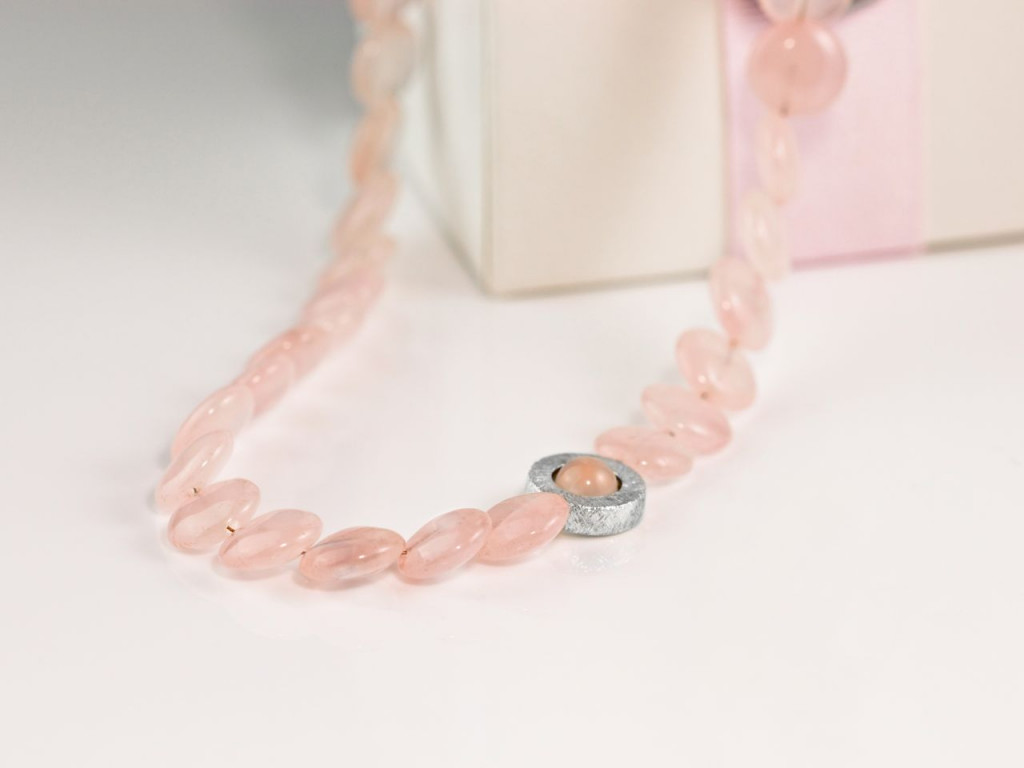 ROSE DISCS | Rose Quartz necklace polished discs with brushed Sterling Silver round centre piece and clasp (sold out)