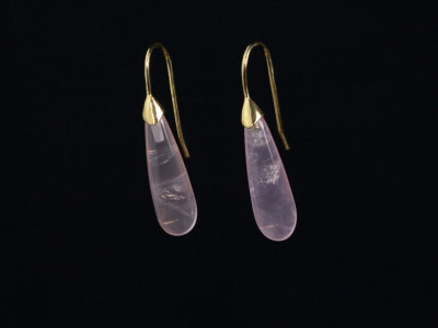 Drops of Rose Quartz | earrings set in Gold vermeil with beautiful long Crystal (Sold Out)