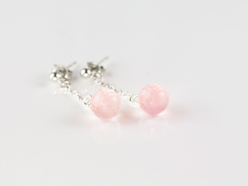 Rose Quartz Orbs | Sterling Silver earrings with faceted Rose Quartz spheres on little chains (Sold Out)