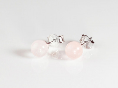 Rose Quartz Spheres | Sterling Silver ear studs with polished rose quartz bullets (Sold Out)
