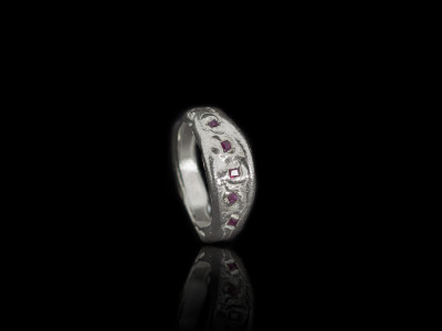 THE FIVE RUBIES   Solid Sterling Silver ring