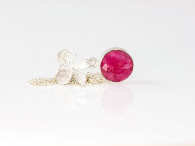 Ruby & an Orchid necklace | Sterling Silver with round red Ruby set in Silver with elaborate Orchid pendant (sold out)