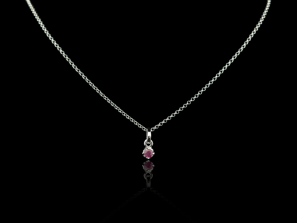 ROUND RUBY | Necklace in rhodium plated Sterling Silver
