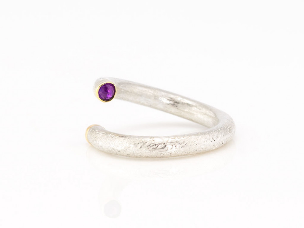 RUBY AMETHYST DOUBLE | Open brushed Sterling Silver ring with Gold (sold out)