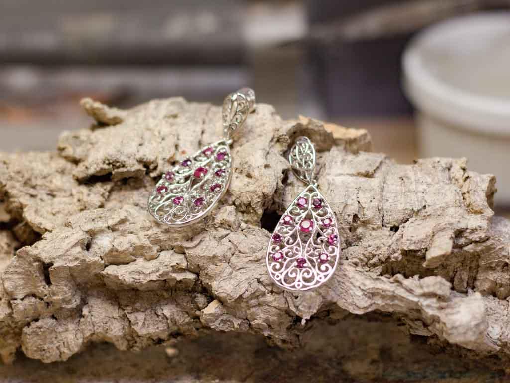 RUBIES IN FILIGREE | Sterling Silver earrings (sold)
