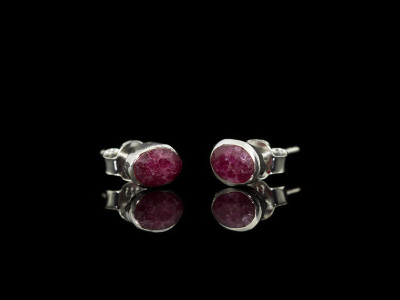 OVAL RUBIES | Ear studs in Sterling Silver (Sold Out)