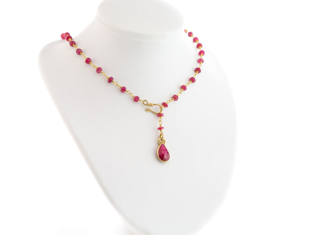RUBY DROP COLLIER | Necklace with Rubies in Gold vermeil (sold)