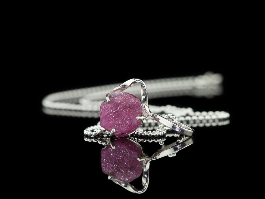 NATURAL RUBY | Sterling Silver necklace with uncut Ruby (Sold Out)