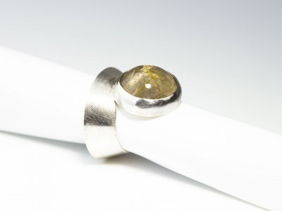 Spectacular   Rutilated Quartz Ring made of brushed Sterling Silver cone shaped (Sold out)