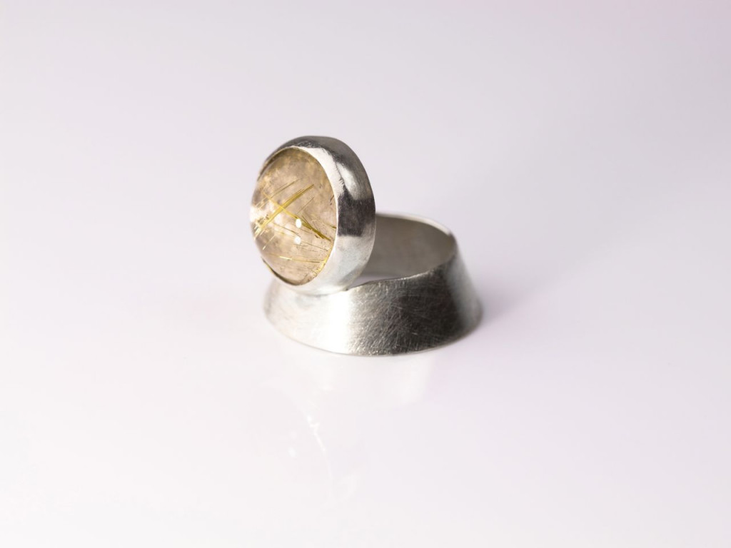 Spectacular | Rutilated Quartz Ring made of brushed Sterling Silver cone shaped (Sold out)