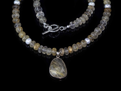 Golden Rutilated Quartz - Venus Hair Necklace | Sterling Silver with Pendant (Sold out)