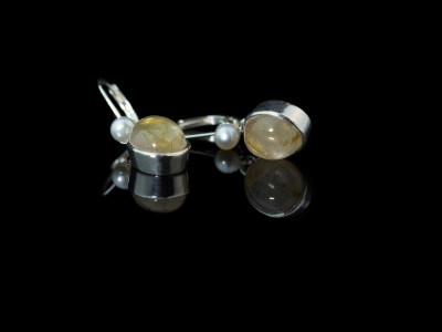 Golden Rutilated Quartz - Venus Hair earrings | Sterling Silver with Pearl (sold)