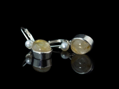 Golden Rutilated Quartz - Venus Hair earrings | Sterling Silver with Pearl