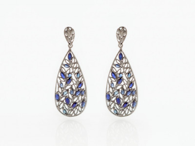 17 SAPPHIRES IN FILIGREE | Earrings in Black Rhodium/Sterling Silver